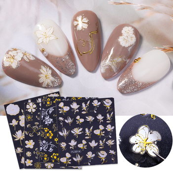 1PC Flower Butterfly 3D Nail Sticker Slider Spring Summer Theme Transfer Decals Paper Nail Art Decoration For Manicuring image