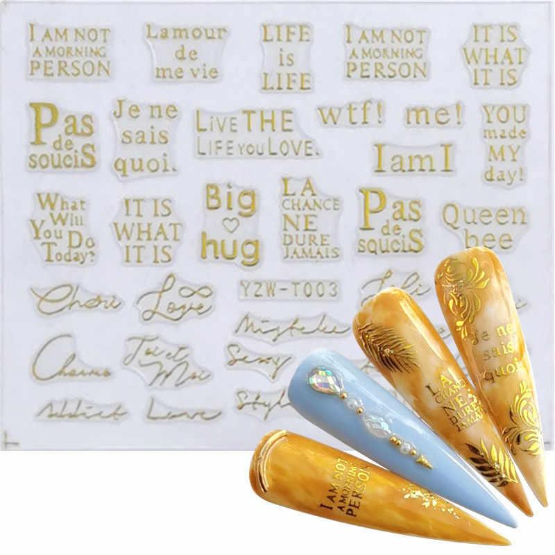 Ywk 1 Pc Nail Sticker Oro Fiore/Amore Vite Collana di Diamanti Gel Polish Cursore Accessori Unghie Artistiche Decalcomanie