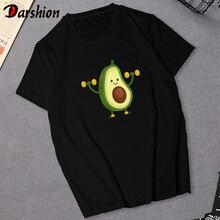 Милая женская футболка с авокадо, для веганов, маленькая, свежая, повседневная, черная футболка, Harajuku, модный топ, футболка, корейский стиль, футболка для женщин, XXL