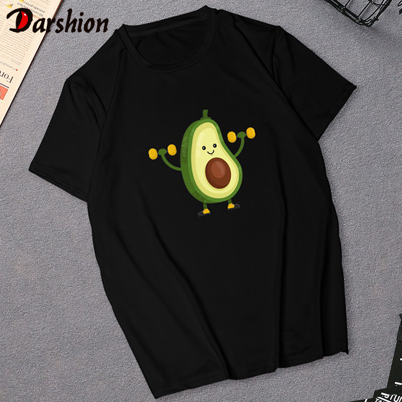 Cute Avocado Vegan Female Tshirt Small Fresh Casual Black T-shirt Harajuku Fashion Top Tee Korean Style T-shirt Womens XXL