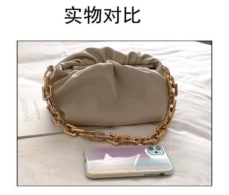 Corrente de ouro macio saco de couro