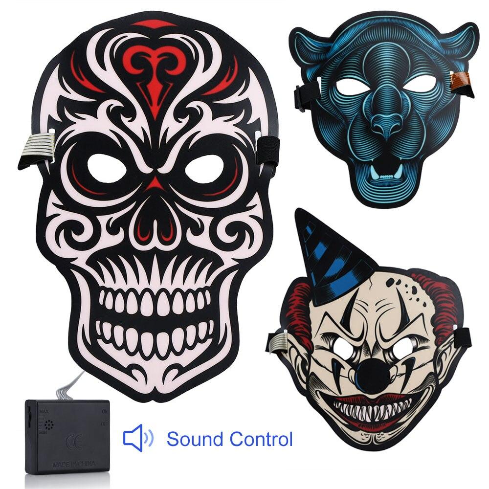 Festa Do dia das bruxas de Som Reativa LED Máscara Masque Máscaras Horror Máscara de Luz Neon LED Rave Glow In The Dark Glowing Cosplay masker
