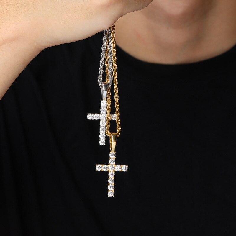 DNSCHIC S925 pendentif en argent Sterling avec Micro-mousse pierre solide croix pendentif Vintage jésus Hip hop bijoux glacé sur collier - 4