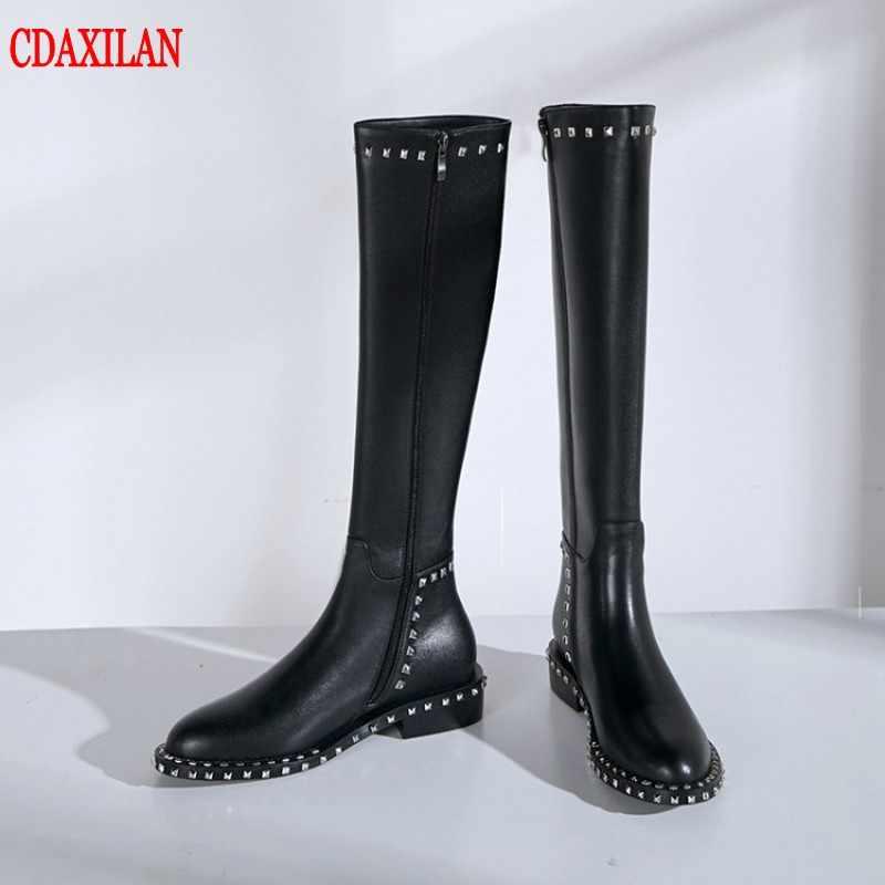 ใหม่ผู้หญิงรองเท้าหนังวัวแท้หนังสั้น chelseas รองเท้าซิปด้านข้างรองเท้าส้นสูงแบนเข่า - สูงรองเท้ารถจักรยานยนต์รองเท้า