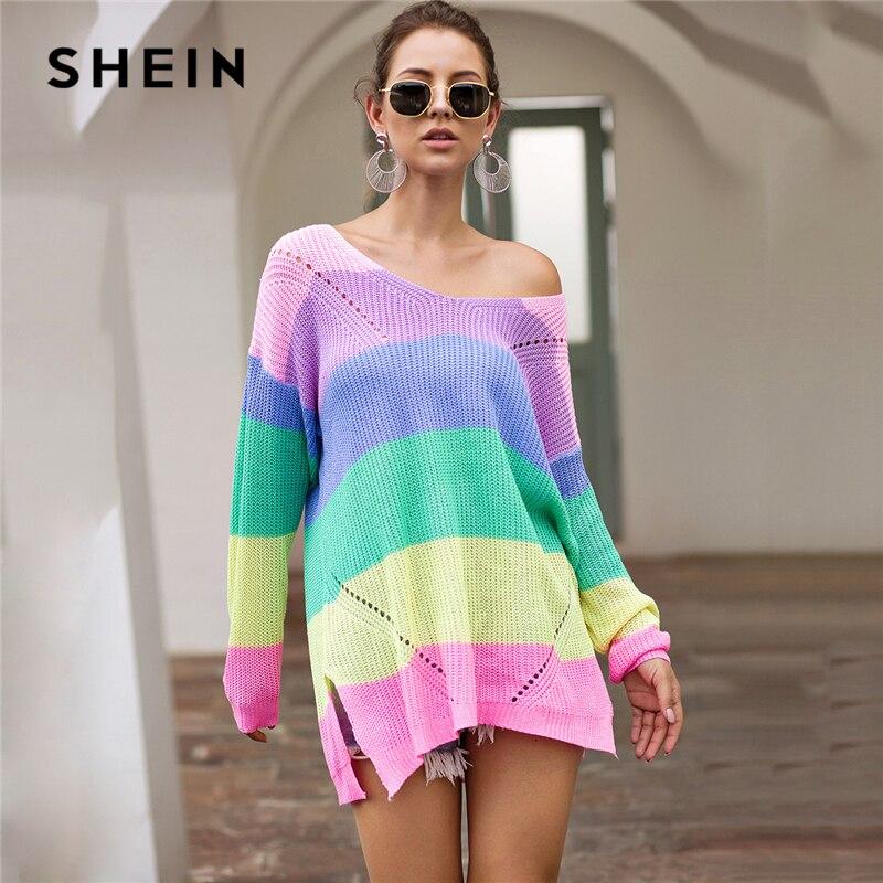 SHEIN Rainbow Striped Drop Shoulder Long Sweater Women Tops 2019 Autumn Streetwear Long Sleeve V Neck Oversized Split Sweaters
