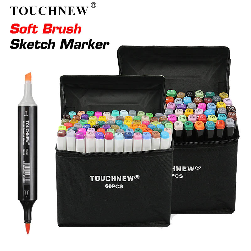 TOUCHNEW 30 <font><b>40</b></font> <font><b>60</b></font> 80 168 Color Art Marker Pen Artist Dual Head Markers Sketch Set Watercolor Brush Pen Liners For Drawing image