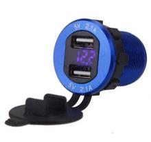 Waterproof Car Charger 5V 2.1A Dual USB Chargers Adapter Fast Charging Ports Intelligent LED Voltmeter