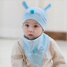 Cute Baby Boy Girl Autumn Winter Home Outdoor Hat Cotton Soft Warm Kid Lovely Cat With Bibs