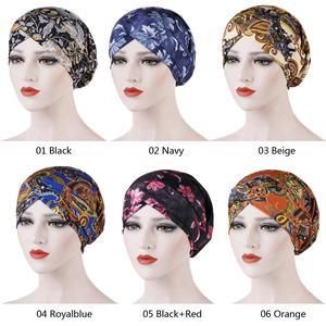 Image 2 - New Fashion Women Printed Sleep Night Cap Hat Ladies Hair Loss Cover Headscarf Turban Beanie Bonnet Islamic Muslim Headwear Caps