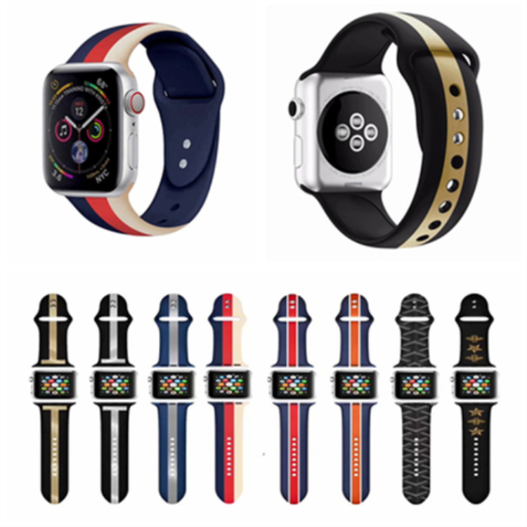New Style Applicable AppleWatch Watch Band Apple IWatch Silicone Watch Strap T-Stripes Small Bee Watch Strap