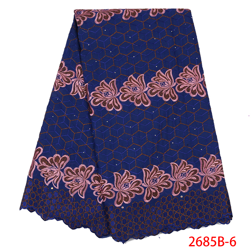 2019 Lace Materials For African French Lace Fabric High Quality Lace Embroidery Cotton Laces For Women KS2685B-6