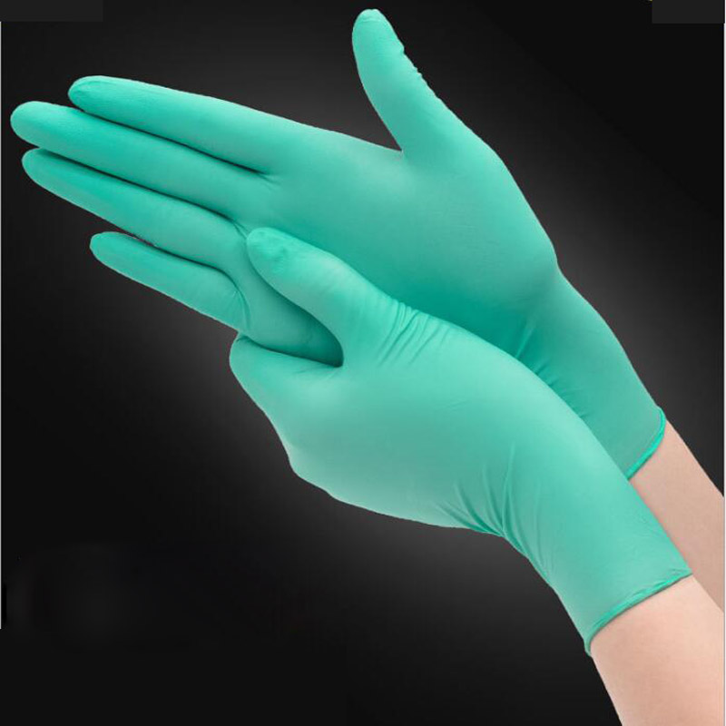 100pcs/lot Disposable Latex  Rubber Gloves Medical Anti-virus Household Cleaning Experiment Catering Green Gloves LS008