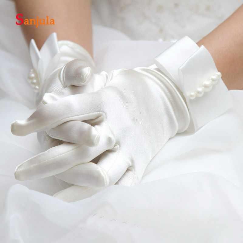Белые/цвета слоновой кости атласные перчатки для свадьбы полный палец длина запястья жемчуг Элегантные женские Вечерние перчатки аксессуары ccesoire mariage G73