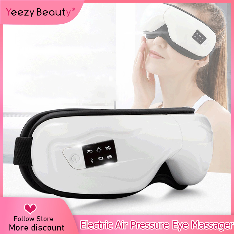 Electric Eye Massager Air Pressure Eyes Massager Instrument Music Wireless Vibration Magnetic Heating Therapy Massage Eye Care