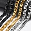 9mm/11mm Punk Edelstahl Curb Kette Halskette Silber farbe Gold Schwarz Link Kette Schwere Hip Hop schmuck KNM07A