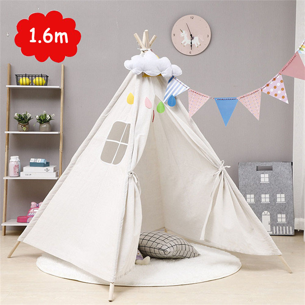 1.6m Large Children's Tent Tipi Portable Canvas Original Triangle Kids Tent Indoor Baby Game Play House Unbleached Teepee Tents