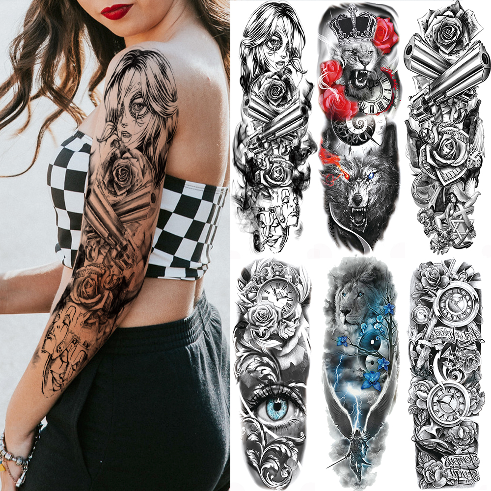 Full Arm Leg Sexy Women Men Temporary Tattoo Sticker Waterproof Skull Compass Tatoo Body Art Fake Flower Tattoo Paper DIY Makeup