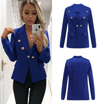 Womens Buttons Notched Lapel Collar Short Coat Business Casual Blazer Slim Fit Jacket Outwear Double Breasted D66