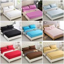 Puro 24 cores sólido lençol de algodão poliéster cabido folha completa/rainha/rei moderno moda puro colorido cabido lençóis de cama