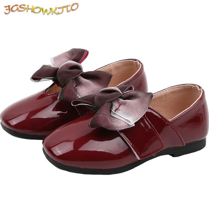 Spring Autumn Girls Shoes Kids Shoes For Medium Big Girl 4-10Yrs Children Casual Flats With Bow-knot Bow Princess Wedding Shoes