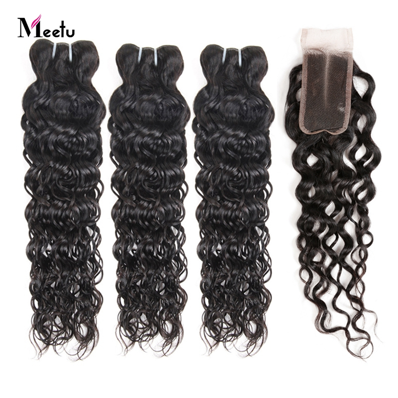 Indian Water Wave Weave With Closure 2/3 Bundles With Closure No Shedding Meetu 100% Human Hair Bundles With Closure Non Remy