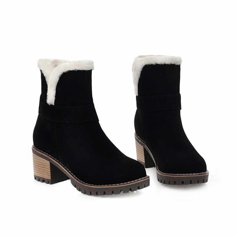 ASUMER 2020 yeni kar botları kadın yuvarlak ayak kayma kışlık botlar akın kare yüksek topuklu ayakkabılar bayanlar çizmeler büyük boyutu 34-43