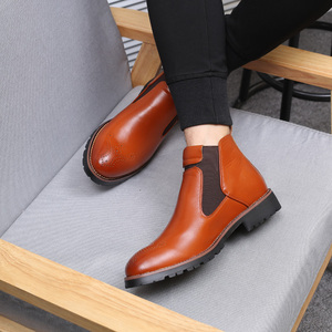Image 5 - Misalwa Autumn Winter 2020 Men Chelsea Boots Black Red Yellow Microfiber Leather Brogue Boots Bullock Men Casual Shoes Big Size