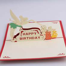 Creative Fairy Happy Birthday 3D Pop Up Greeting Card Paper Sculpture Craft Gift is the good choice for meaningful birthday gift(China)