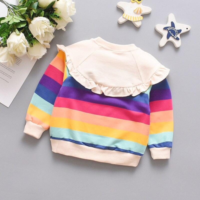 Spring Autumn Long Sleeve Baby Girl Clothes Cute Bowknot Rainbow Stripe Girls Sweatshirt Comfortable Cotton Pullover Kids Jacket 5