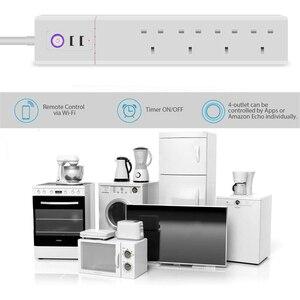 Image 3 - Умная Wi Fi полоса питания штепсельная вилка Великобритании с USB защитой от перенапряжения 4 розетки переменного тока дистанционное управление работа Alexa Google домашний помощник