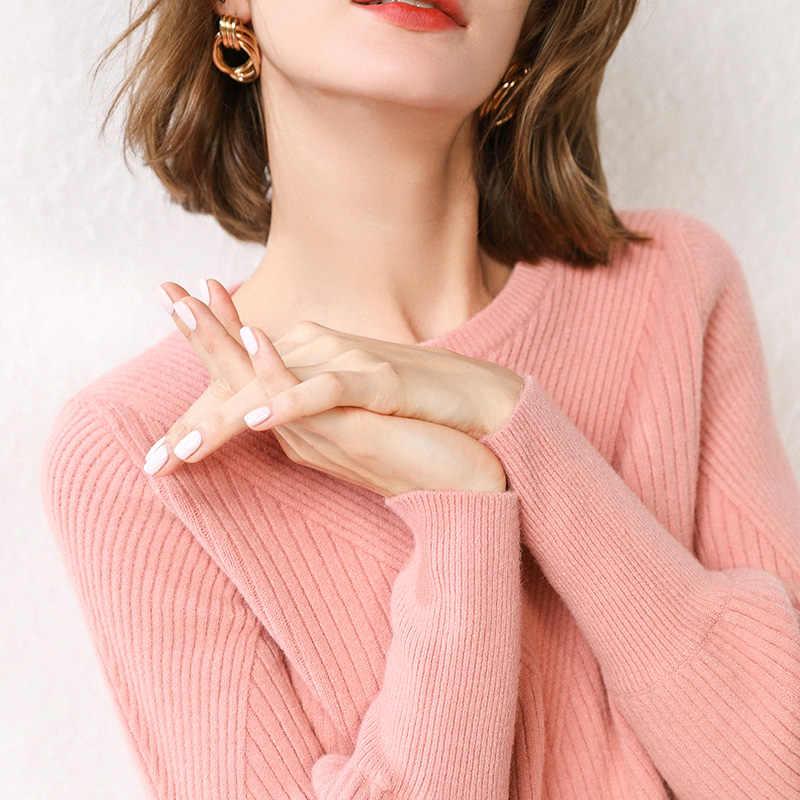 Adishree 2019 mujer invierno 100% suéteres de cachemir y jerseys de punto auntmun alta calidad caliente mujer engrosamiento cuello redondo