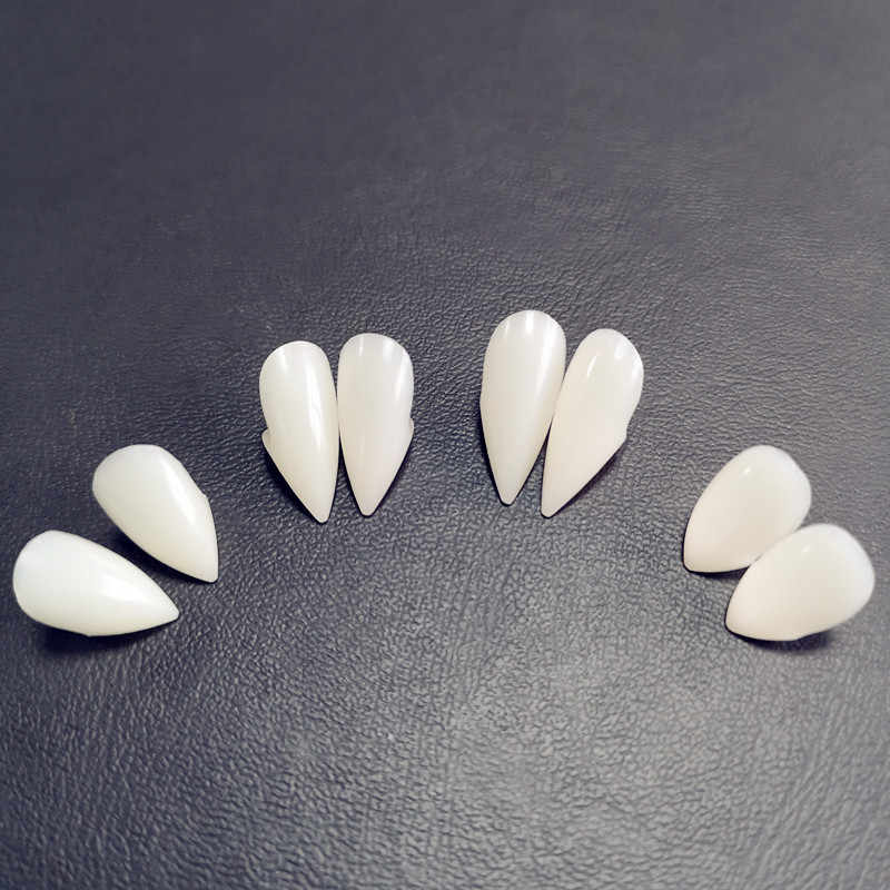 1 Pairs Vampire Zähne Fangs Zahnersatz Requisiten Halloween Kostüm Requisiten Falsche Zähne Solide Kleber Prothese Klebstoff Party DIY Dekorationen
