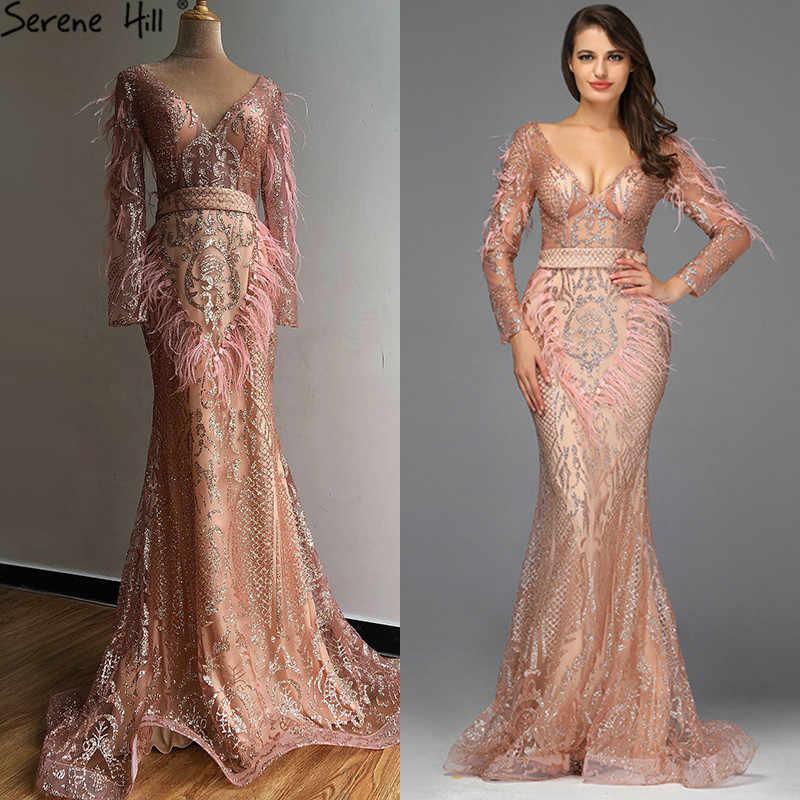 דובאי יוקרה עלה זהב בת ים ערב שמלות 2020 נוצות נצנצים Sparkle ארוך שרוולים ערב שמלות Serene היל LA60902