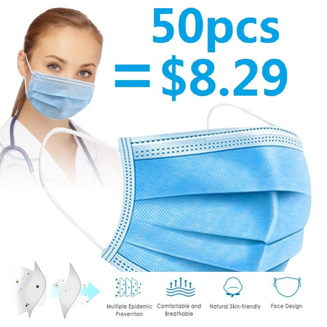 In Stock Anti Virus Mask Disposable 3 Layers Filter Dustproof Mouth Face Masks Protective Factory outlet