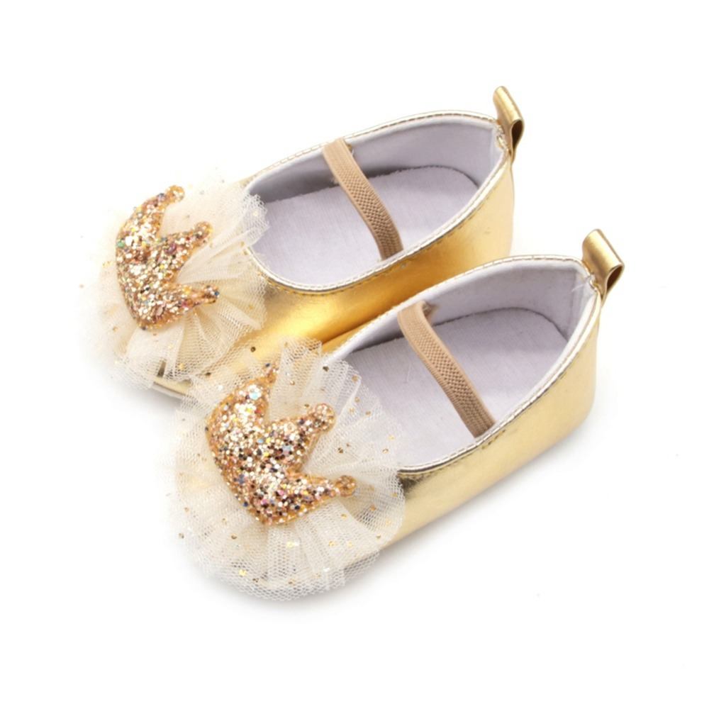Infant Newborn Baby Girl Shoes Soft Anti-Slip Crib Shoes Sequin Crown Princess Dress Shoes For 0-18 MonthS