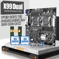 X99 dual CPU motherboard set with 2pcs XEON E5 2678V3  CPU and 2*32gb=64gb ddr4 ecc reg 2133mhz ECC REG RAM MEMORY