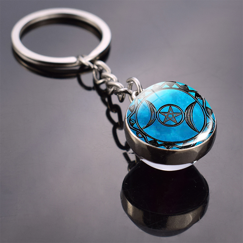 Triple Moon Goddess Keychain Wiccan Triple Moon Picture Double Side Cabochon Glass Ball Keychain Christmas Gifts Dropshipping