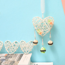Ins Style Vine Weave Mesh Dreamcathcer Hanging Hollow Heart Pendant Flower & Bead Home Traditional  Party Decoration