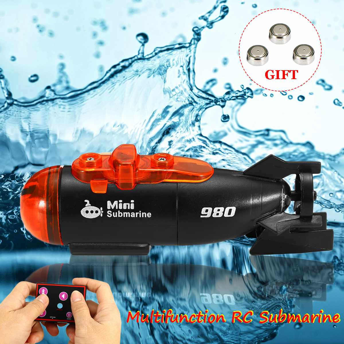 Mini Radio Remote Control RC Submarine Ship Boat With LED Light Toy Gift 6 Channels Speed Boat Remote Control Drone image