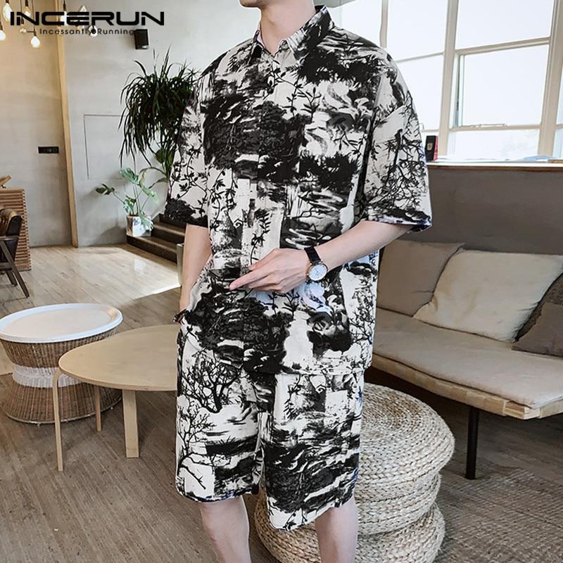 Summer Men's Sets Printing Half Sleeve Streetwear 2020 Cotton Lapel Shirt Vintage Shorts Pockets Casual Men Clothes Suit INCERUN