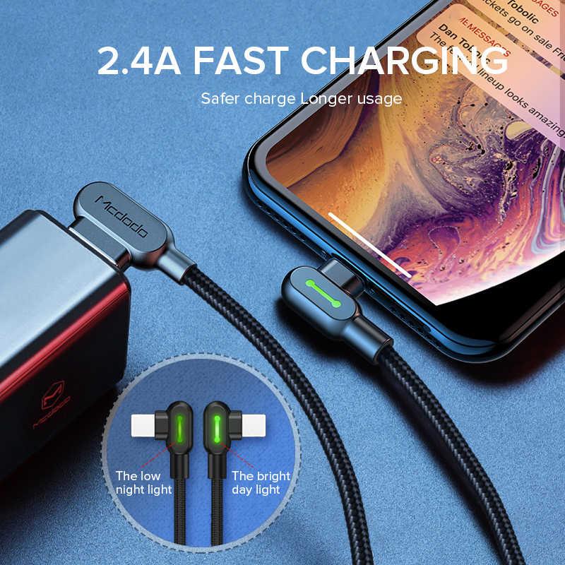 MCDODO câble USB 2.4A chargeur de téléphone portable à charge rapide cordon de données LED pour iPhone 12 mini 11 Pro MAX XS XR X 8 7 6 6s S Plus 5