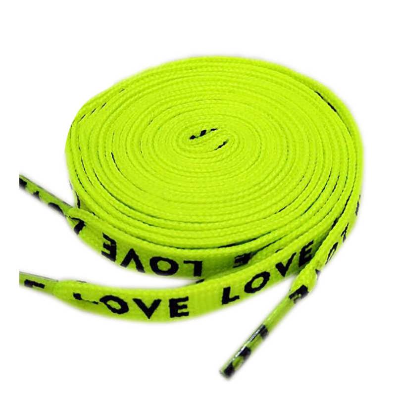 1 par de dos caras de impresión de letras cordón de poliéster de alta gama cordones planos de Moda Verde blanco negro rojo DIY Accesorios