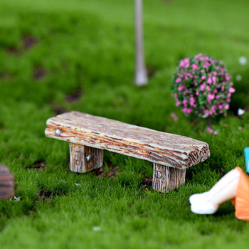 Miniature Resin Wooden Stool Furniture Fairy Garden Ornament Crafts Modern Landscape Toys Courtyard Decoration For Dollhouse image