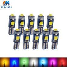 Lâmpadas led para painel de carro, 2 peças, t5 w3w w1.2w pcb 3030 led, instrumento de aquecimento, indicador de luzes, 12v dc, branco e azul âmbar verde vermelho