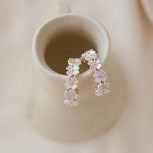 Cute Shell Flower Hoop Earrings For Women Fashion Jewelry Korean Style Geometric Circle Earrings valentines day gift