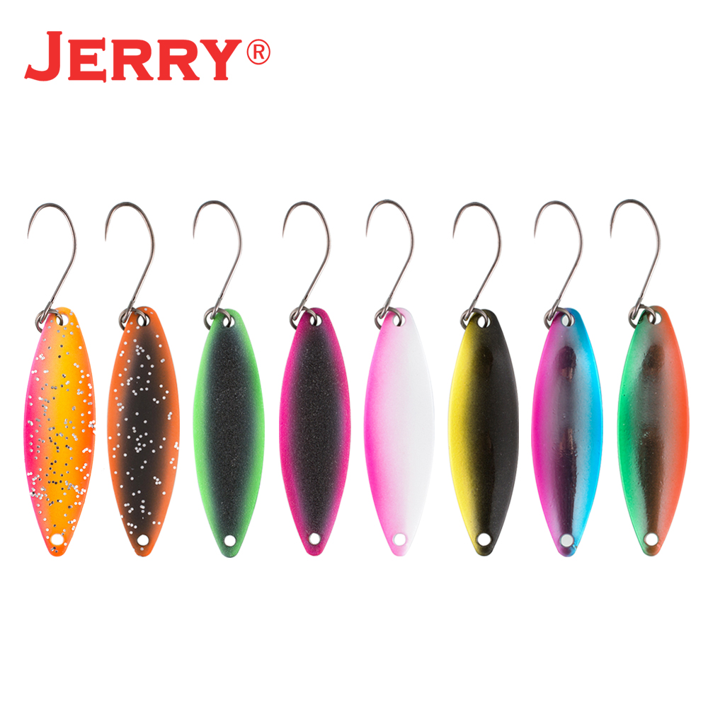 Jerry Narrow Micro Trout Spoon Lure Kit Set Brass Rustless Fishing Artificial Bait Baubles