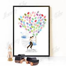 Custom Couple's Name Wedding Date Bride & Groom Fly to Happiness Fingerprint DIY Signature Guest Book Painting For Wedding Decor