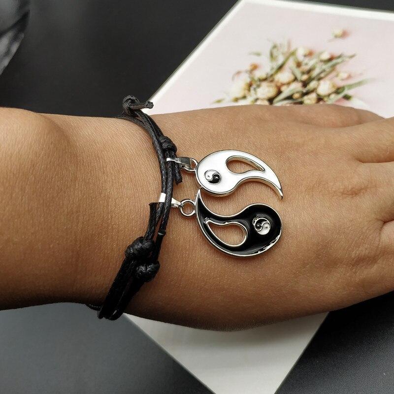 2 pcs Fashion Yin Yang Tai Bracelet For Women Men Silver-plated Gossip Best Friends Rope Bracelet & Pendants BFF Couple Jewelr