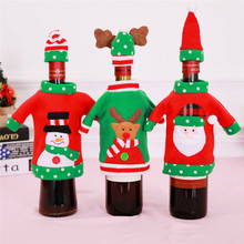 Christmas Wine Bottle Cover Snowman Santa Claus Elk Topper Party Decoration New Year