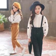 Детский комплект одежды в горошек для девочек блузка и штаны